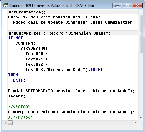 Microsoft Dynamics NAV Codeunit 409 - Dimension Value-Indent
