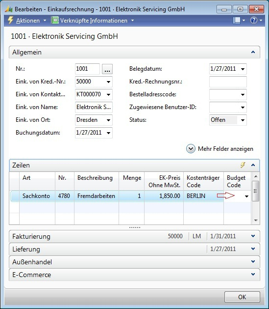 Microsoft Dynamics NAV - Einkaufsrechnung