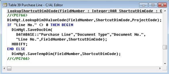 Microsoft Dynamics NAV Tabelle 39 Einkaufszeile - LookupShortcutDim3Code