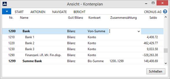 Microsoft Dynamics NAV - Kontenplan - Banken