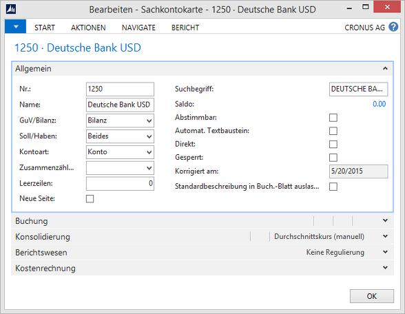 Microsoft Dynamics NAV -Sachkontokarte - Deutsche Bank