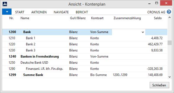 Microsoft Dynamics NAV - Kontenplan - Banken in Fremdwährung