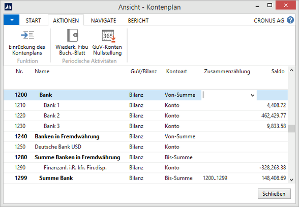 Microsoft Dynamics NAV - Kontenplan nicht eingerückt