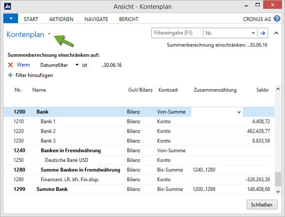 Microsoft Dynamics NAV - Kontenplan mit Datumsfilter