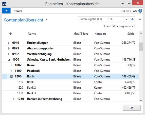 Microsoft Dynamics NAV - Kontenplanübersicht