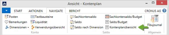 Microsoft Dynamics NAV - Kontenplan - Menüband