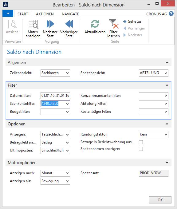 Microsoft Dynamics NAV - Kontenplan - Saldo nach Dimensionen