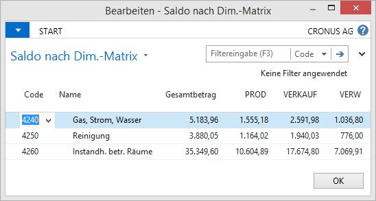Microsoft Dynamics NAV - Kontenplan - Saldo nach Dimensionen - Matrix